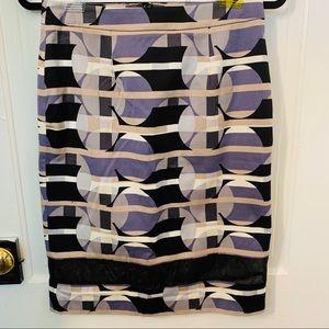 HALOGEN Geometric Purple, Gray and Black Skirt
